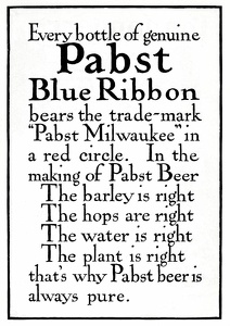 Pabst Blue Ribbon Beer -1900'sA