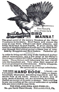 Philadelphia Bird Food Co. Bird Manna -1899A