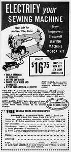 Brownell Sewing Machine Motors -1949A