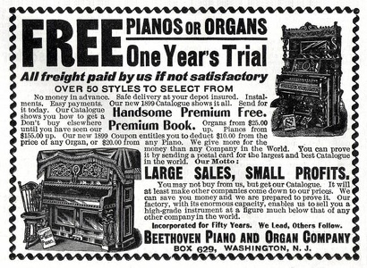 Beethoven Piano and Organ Company -1899A
