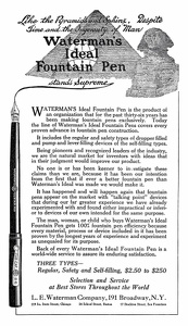 Waterman's Ideal Fountain Pens -1900'sB