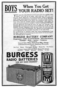 Burgess Radio Batteries -1923