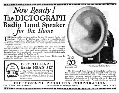 Dictograph Loudspeakers -1922A