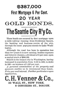Seattle City Railway Bonds -1891A